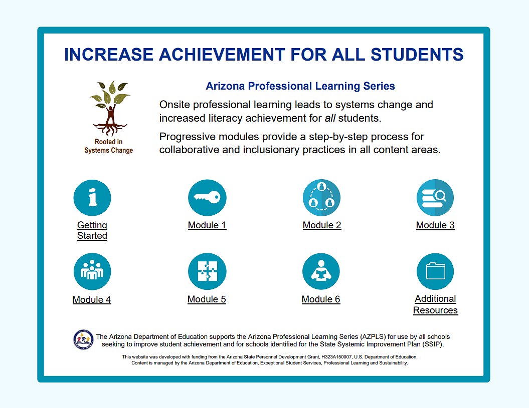 The Arizona Professional Learning Series is onsite professional learning leading to systems change and increased literacy achievement for all students.